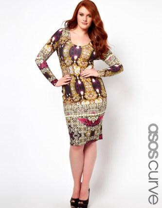 Va Va Voom! ASOS CURVE Bodycon Dress in Jewel Print €38.96 €38.96