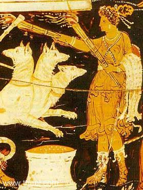 The goddess Heckate from an ancient Greek image.