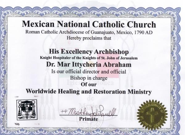 ITTYCHERIA ABRAHAM ARCHBISHOP MEXICAN CATHOLIC CHURCH