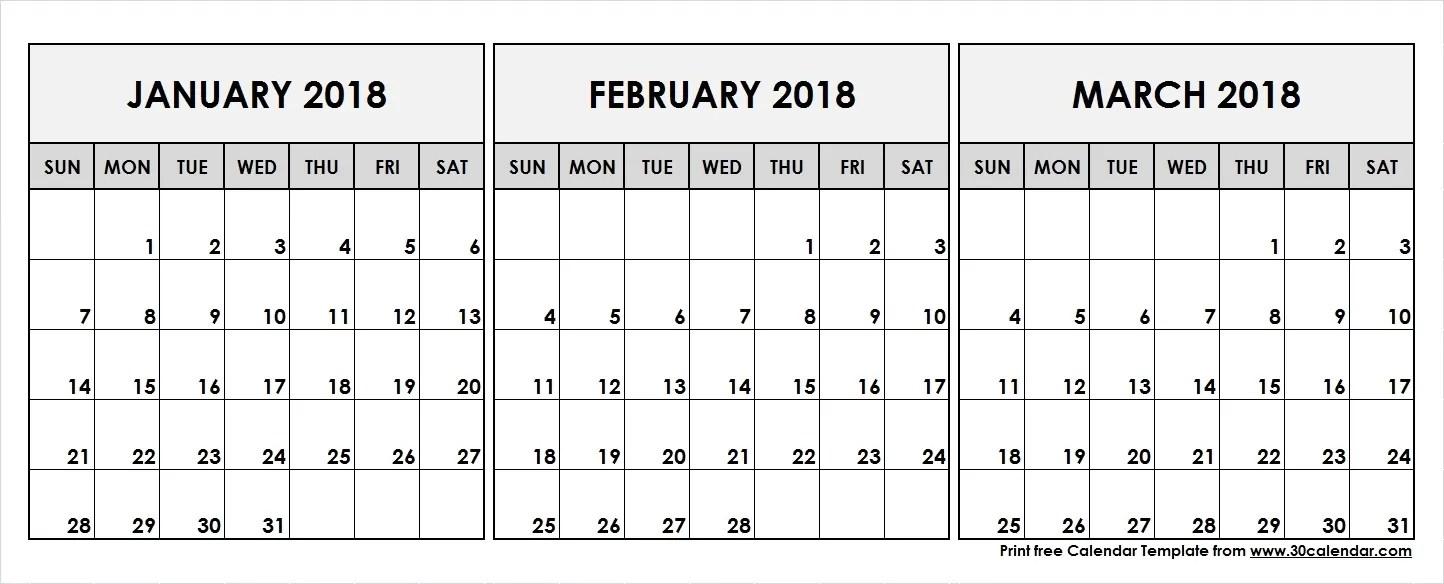 january february march calendar