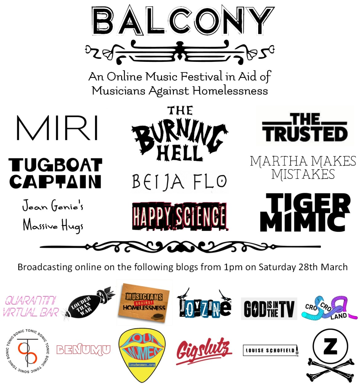 NEWS: Balcony Online Festival live streams today in aid of Musicians Against Homelessness