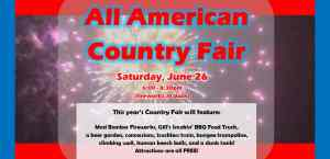 All American Country Fair event with Fireworks to be held at Godley Park District on June 26, 2021 from 6 to 8:30pm