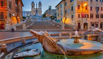 Spanish Steps At Dusk In Rome