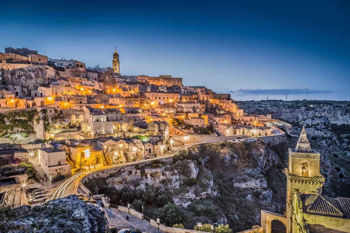 Ancient town of Matera (Sassi di Matera) at dusk, Basilicata, southern Italy