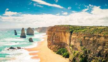 Twelve Apostles scenic coastal view at Castle Rock in pacific ocean in Victoria, Australia