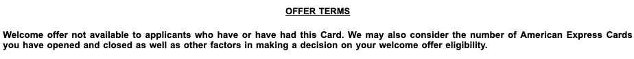 Amex Welcome Offer Eligibility Terms