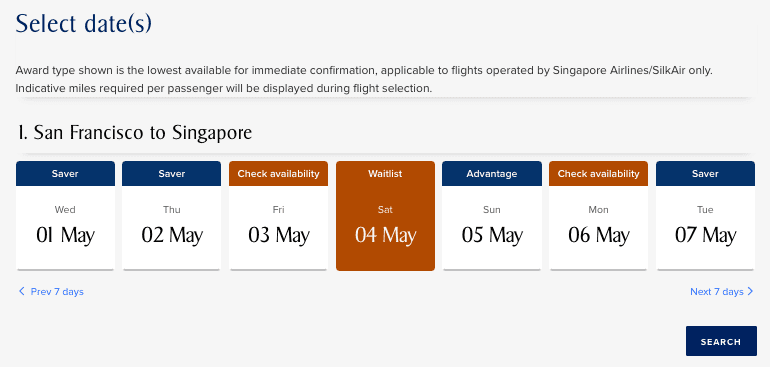 Singapore Airlines Flexible Date Search