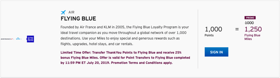 Citi Transfer Bonus To Flying Blue