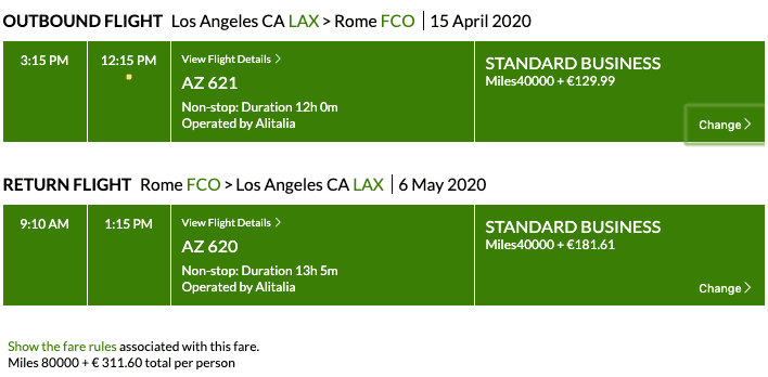 Alitalia Business Class Award Ticket Example