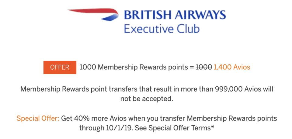 Amex Transfer Bonus To Avios