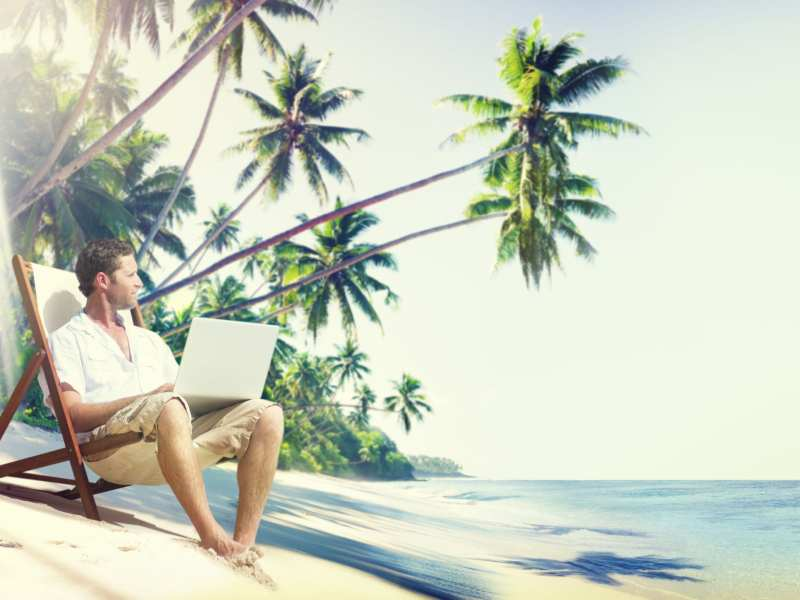Man Laptop Beach Summer Sea Concept