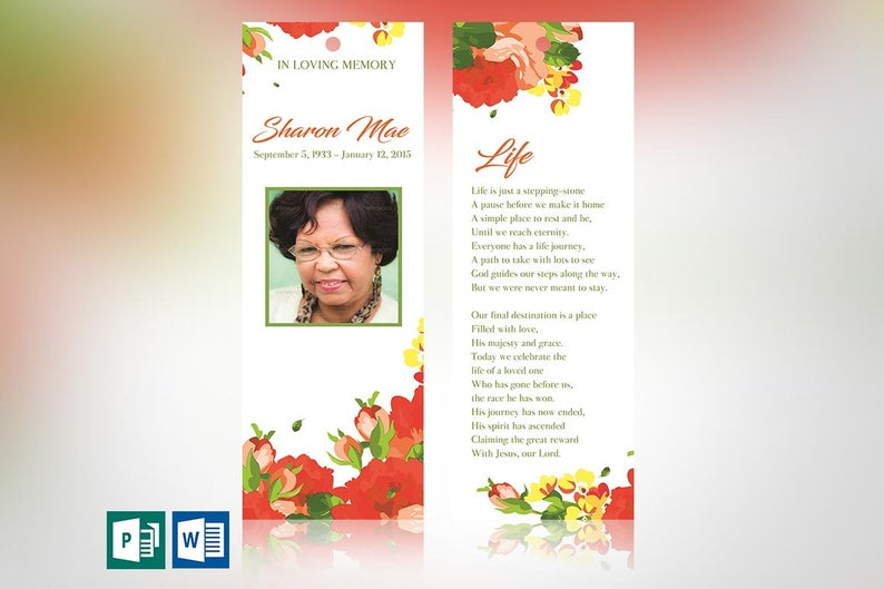 Orange Watercolor Funeral Bookmark Word Publisher Template