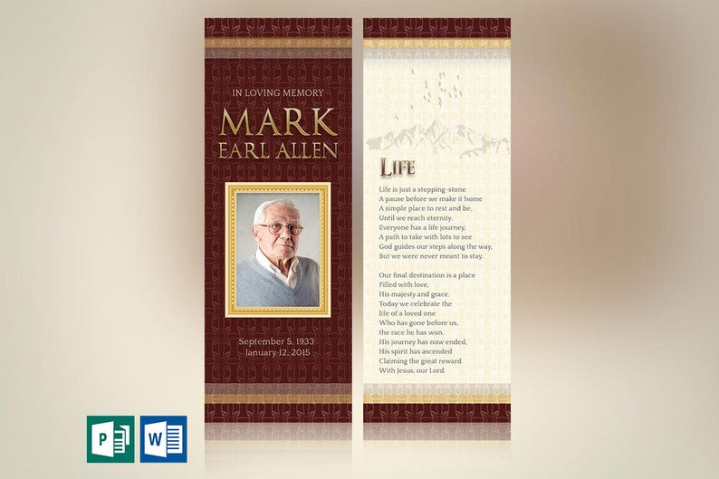 Legacy Memorial Book Mark Word Publisher Template