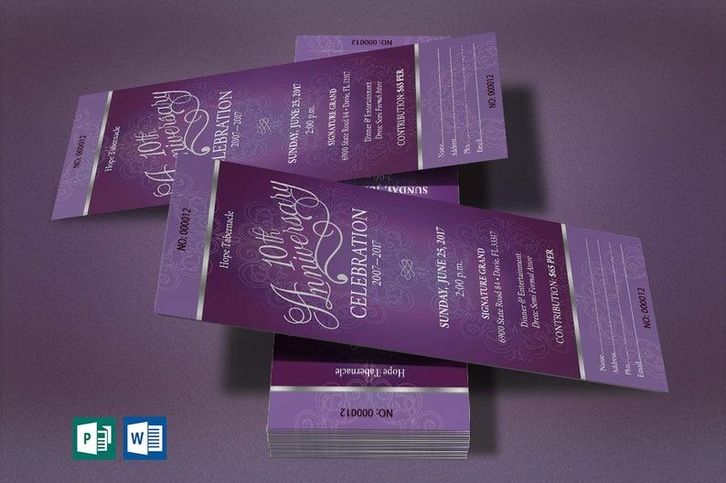 Purple Silver Church Anniversary Publisher Word Ticket