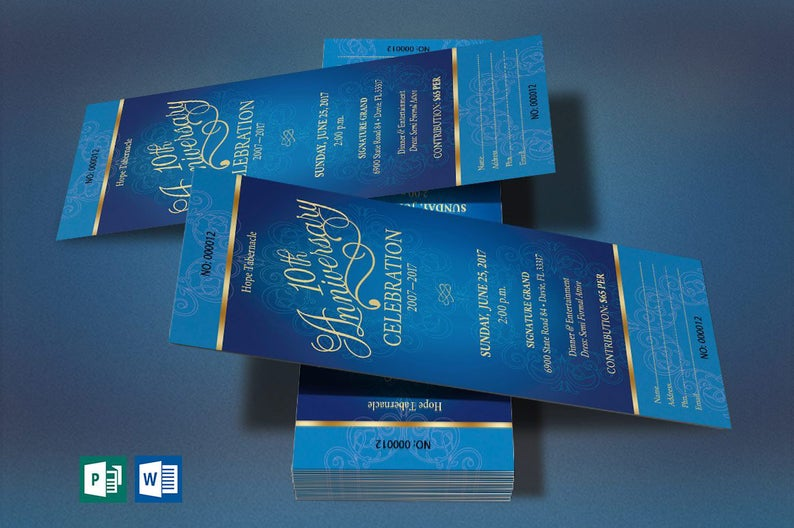 Blue Gold Church Anniversary Word Publisher Ticket