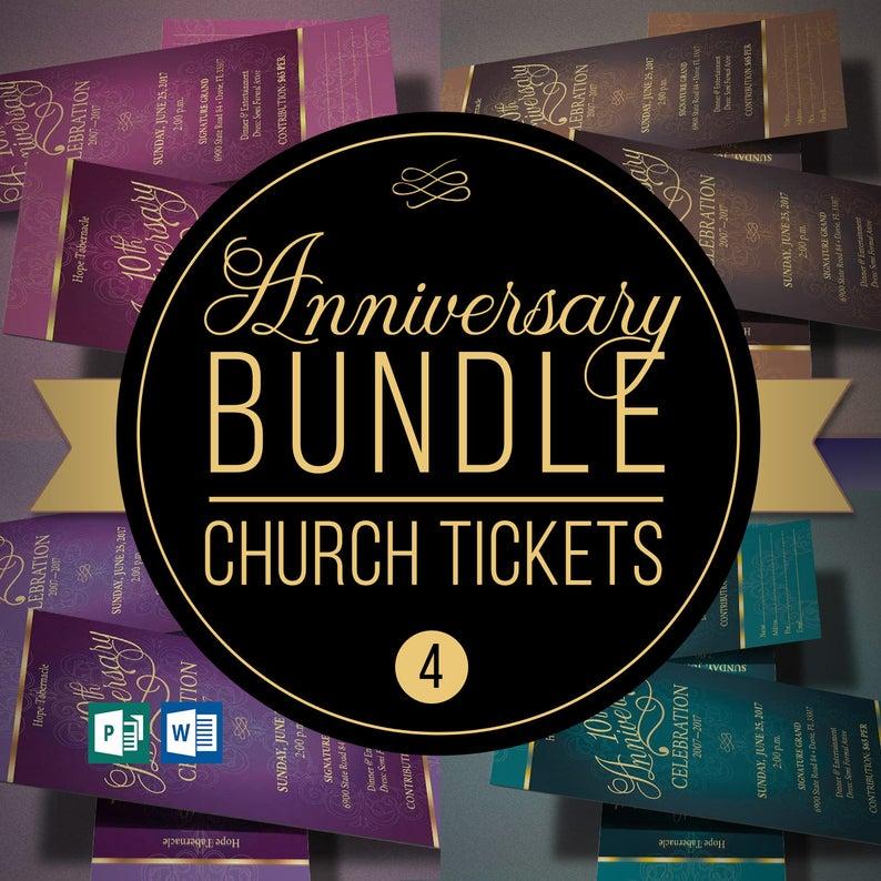 Church Anniversary Ticket Template Bundle