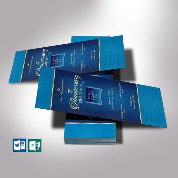 Blue Banquet Ticket Word Publisher