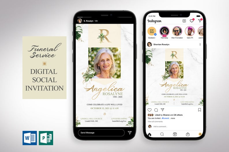Tropica Funeral Digital Invitation Word Publisher Template