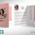 Floral Rose Gold Funeral Program Word Publisher Template