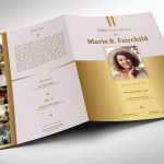 Golden Funeral Program Word Publisher Large Template