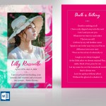 Painted Funeral Prayer Card Word Publisher Template
