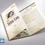 Oriental Style Funeral Program Word Publisher Template