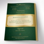 Green Gold Regal Funeral Program Word Publisher Template