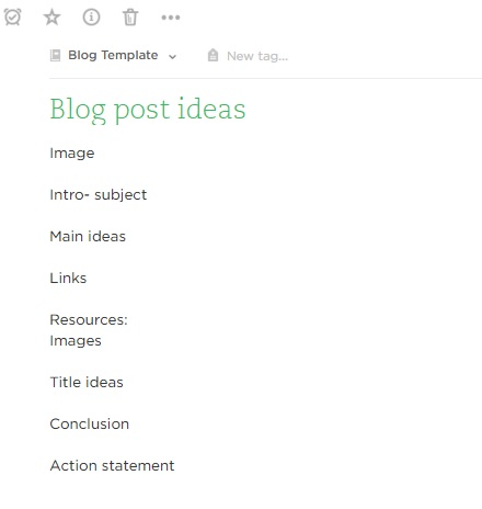 Blog Template Evernote