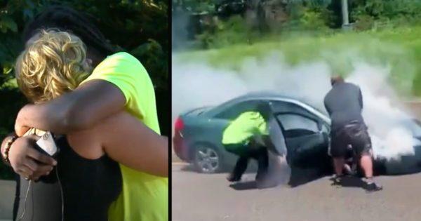 salvataggio di auto in fiamme