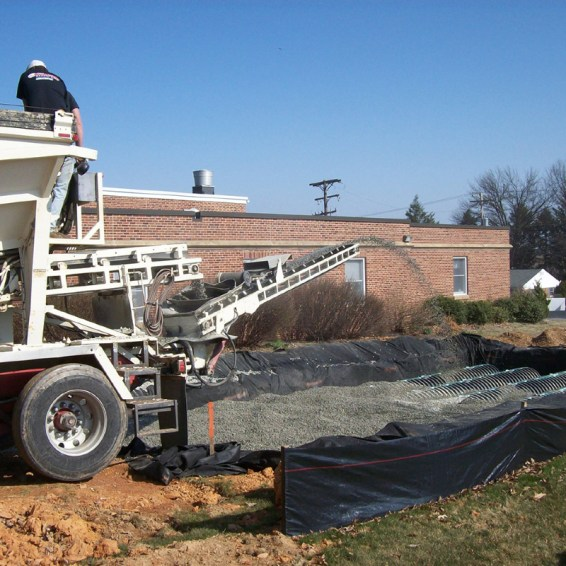Ecotech's stone slinger makes this project much easier.