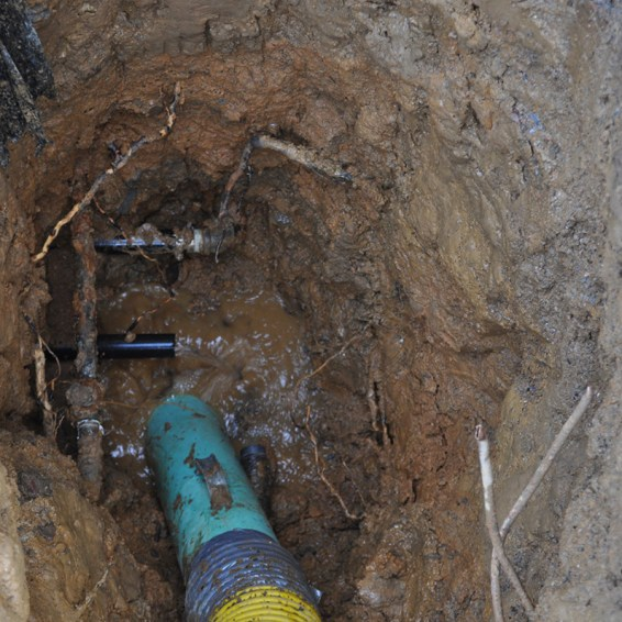 Broken pipe is quickly located and easily repaired.