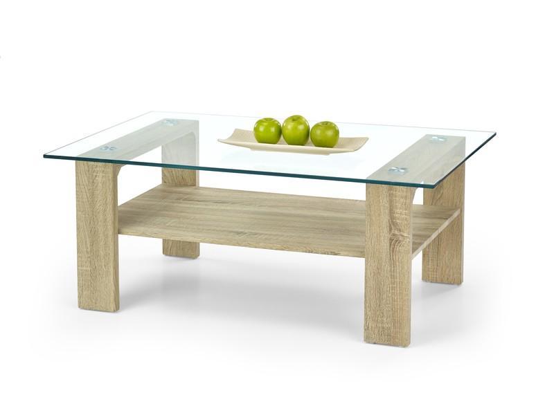 AANBIEDING Moderne eiken salontafel met glas NU 119
