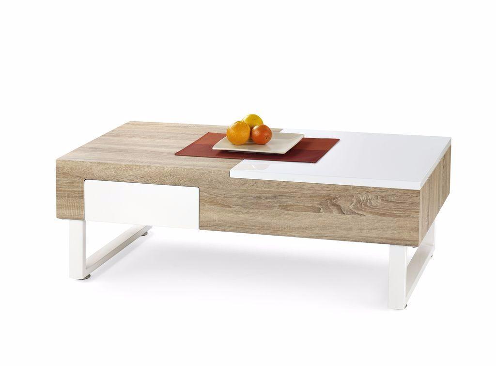 AANBIEDING Moderne eiken hoogglans witte salontafel NIEUW