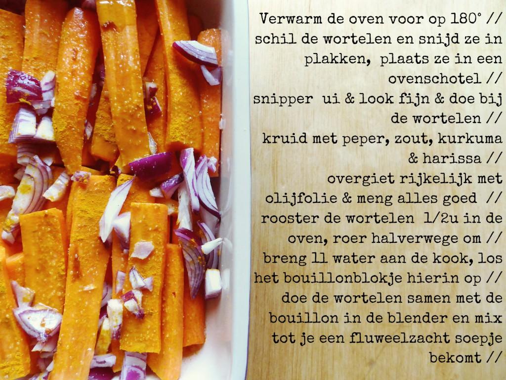 recept pittig wortelsoepje harissa kurkuma rode ui look geroosterde wortelen