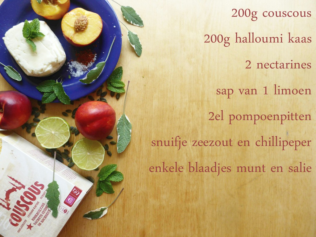 halloumi foto ingredienten gezonde lunch eenvoudig recept couscous nectarine munt