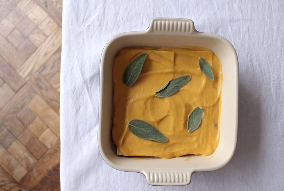 pompoen lasagne met bospadestoelen halverwege recept