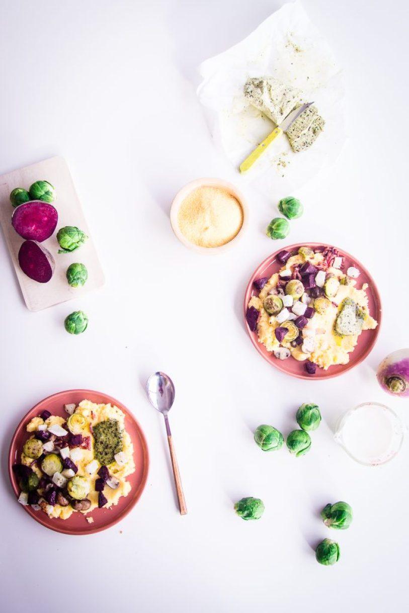 polenta rode biet raap spruitjes geroosterd oven lookboter huisgemaakt gepofte look champignons snel klaar goestjes jozefien ryckx