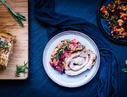 rollade met honingmosterd en gekarameliseerde ui met kleurrijke stoemp van wintergroenten