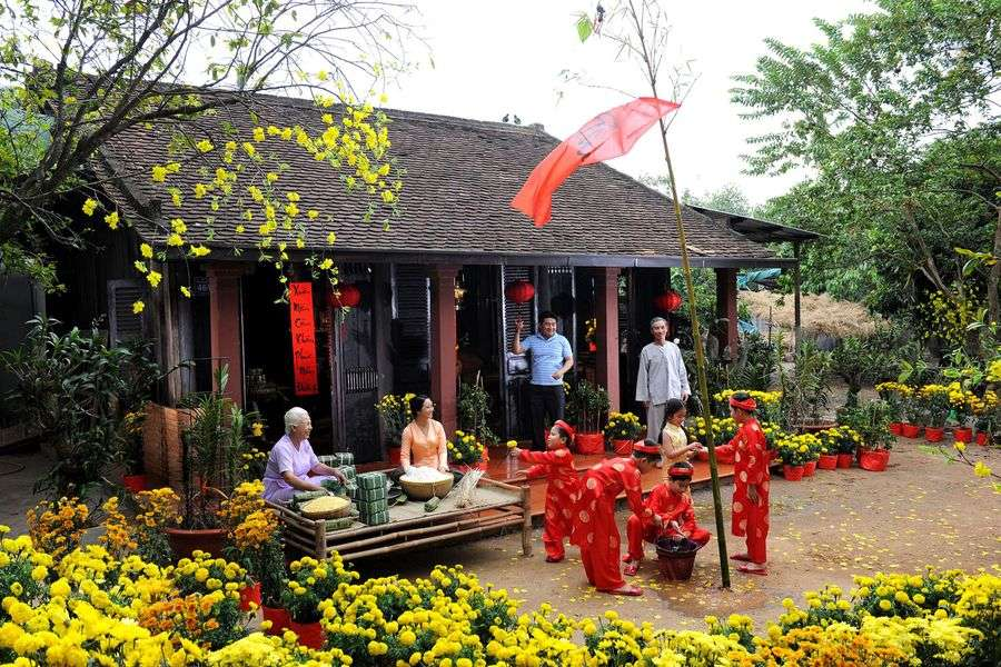 Family reunited on Tet holiday (Vietnamese New Year)