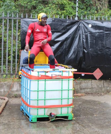 DUNK THE RESCUER: An NSRI member is about to get dunked