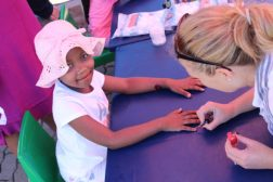 Grade 1 Hudson Park Primary School pupil, Ivuyiso Solisi, getting pampered