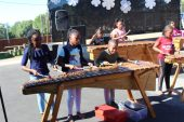 Hudson Park Primary School marimba band entertains the audience before the talent show