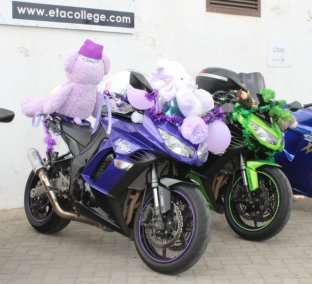 RIDING IN STYLE: These bikes were decked in some snazzy colour-coordinated decorations for the Toy Run