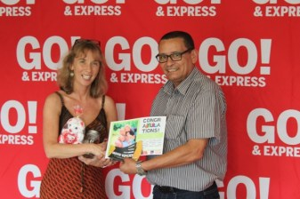 FAMILY TIES: Ingrid de Bruyn accepts her prize on behalf of the rest of her family