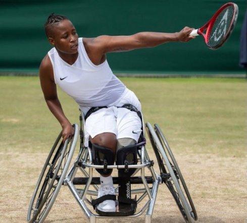 SA wheelchair tennis star Kgothatso Montjane. Image - @CyrilRamaphosaTwitter