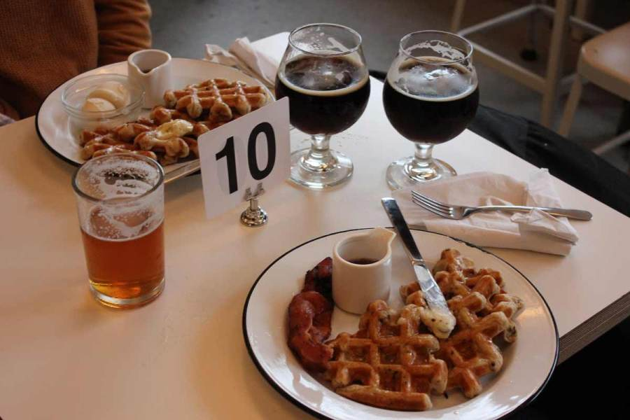 Waffles, bacon and beer at 33 Acres. Photo by Kendall Jones.