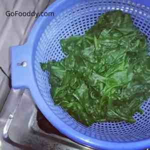 boiled spinach for puree
