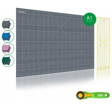 kit de couture tapis de decoupe gris a1 60x90cm cutter rotatif 45mm et regle patchwork 15x60cm