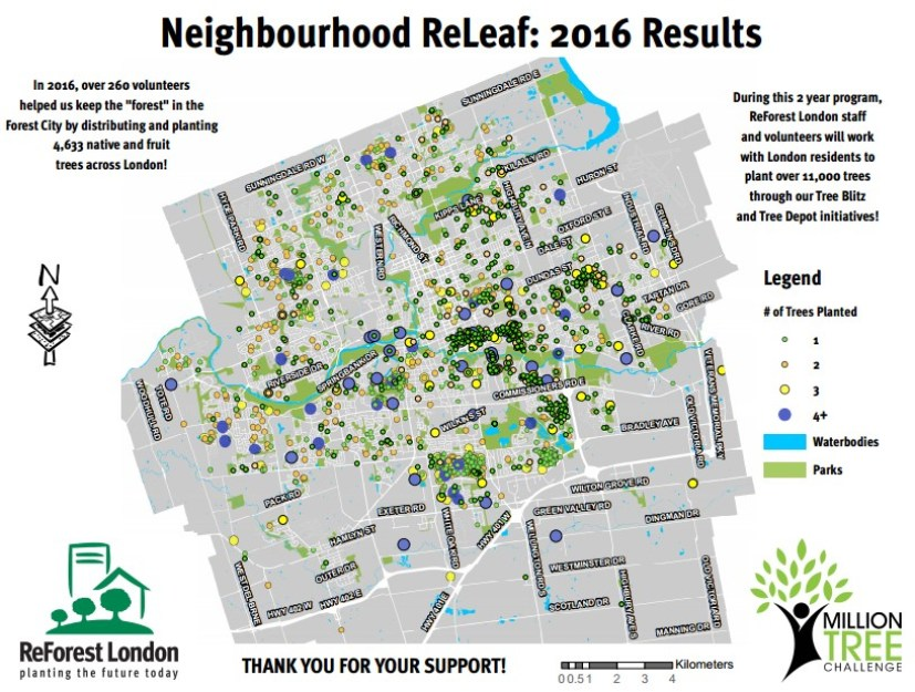ReForest London Results Map ( Provided by Amber Cantell, Reforest London through email)