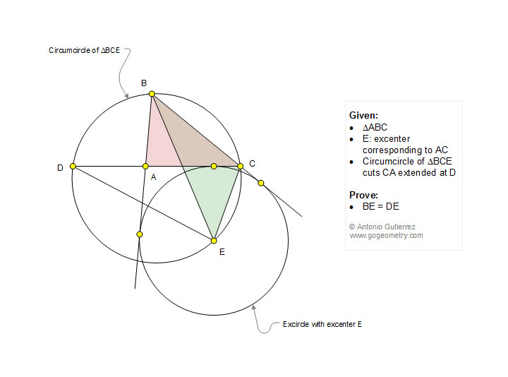 Math, Geometry Problem 1209: Triangle, Circle, Excircle